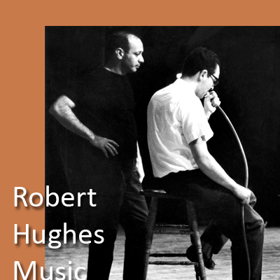 Robert Hughes with Stuart Dempster who is seen playing garden hose, in 'Anagnorisis', a work for trombone and percussion