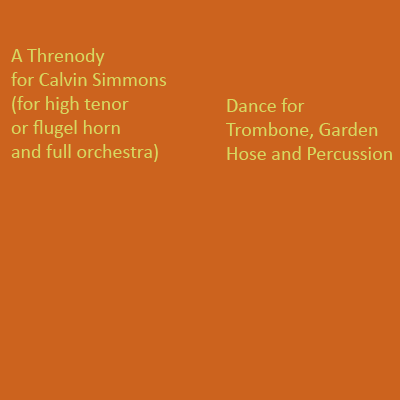 description, 'Threnody for Calvin Simmons' music for large orchestra, and 'Anagnorisis' for trombone and percussion, composed by Robert Hughes