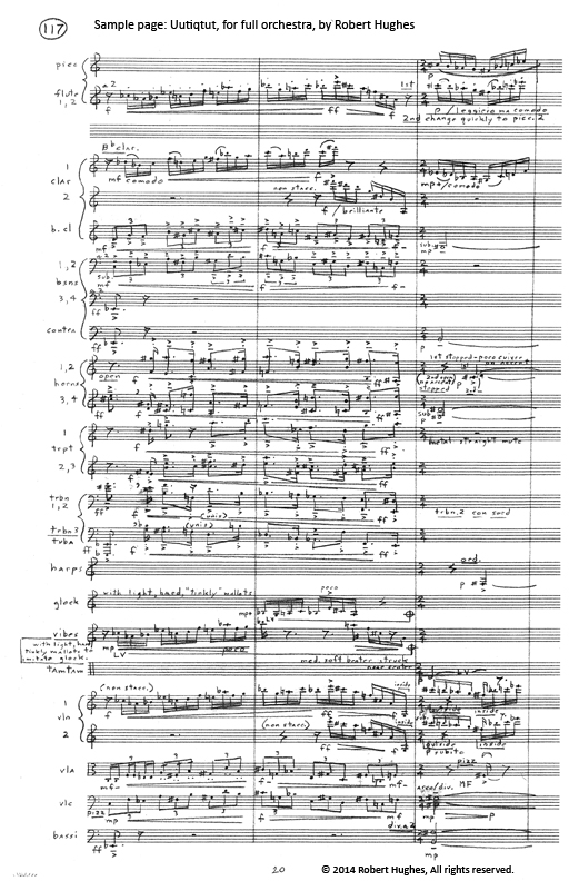 Sample page, music score 'Uutiqtut' by Robert Hughes